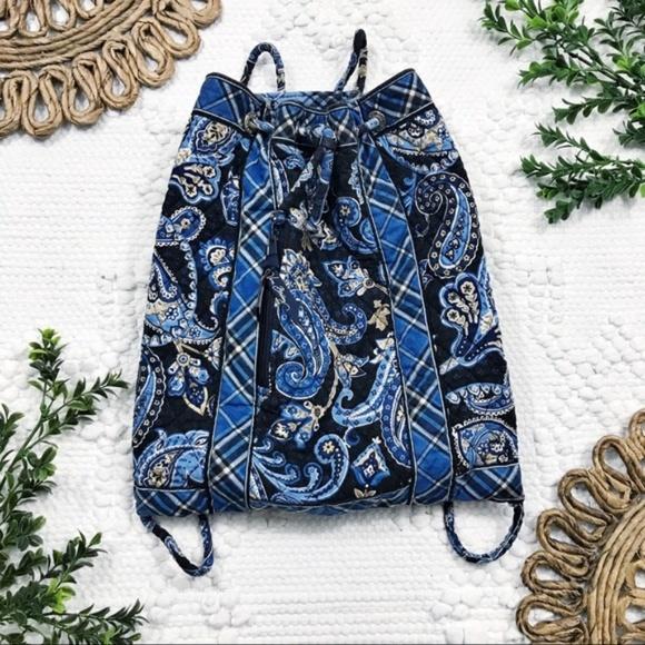 Vera Bradley Handbags - Vera Bradley Windsor Navy Drawstring Bag
